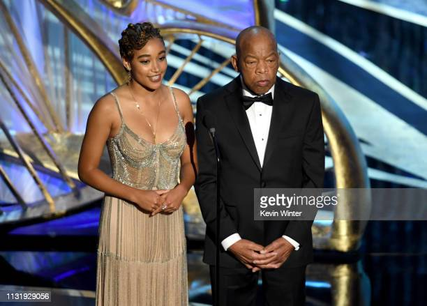 Amandla Stenberg and US Representative John Lewis speak onstage during the 91st Annual Academy Awards at Dolby Theatre on February 24 2019 in...