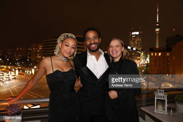 "Amandla Stenberg, Andre Holland and Joanna Kulig attend the post premiere cocktail reception of ""The Eddy"" during the 70th Berlinale International..."