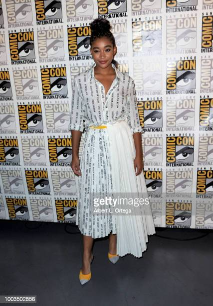 Amandla Stenberg attends Entertainment Weekly's Women Who Kick Ass Panel during ComicCon International 2018 at San Diego Convention Center on July 21...