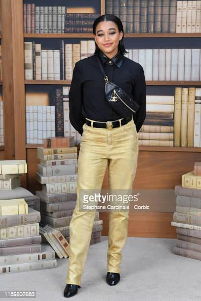 Amandla Stenberg attends the Chanel photocall as part of Paris Fashion Week Haute Couture Fall Winter 2020 at Grand Palais on July 02 2019 in Paris...