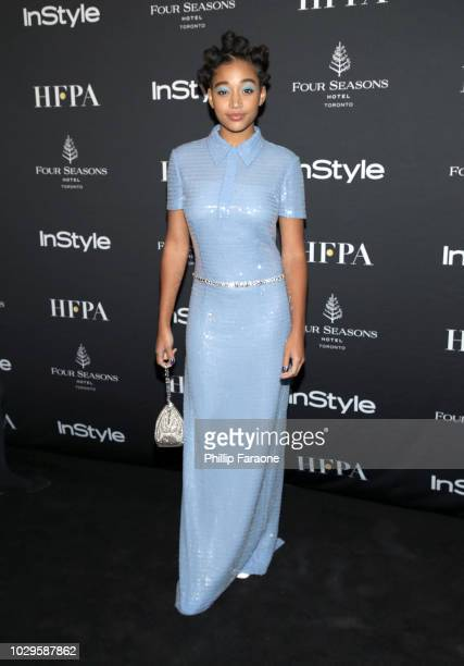 Amandla Stenberg attends The Hollywood Foreign Press Association and InStyle Party during 2018 Toronto International Film Festival at Four Seasons...