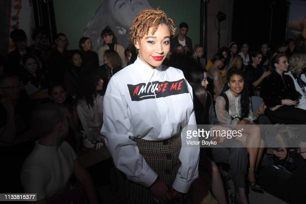 Amandla Stenberg attends the Miu Miu show as part of the Paris Fashion Week Womenswear Fall/Winter 2019/2020 on March 05 2019 in Paris France