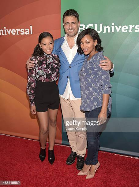 Amandla Stenberg Ben Koldyke and Meagan Good attend the 2015 NBCUniversal Summer Press Day at the Langham Hotel on April 2 2015 in Pasadena California