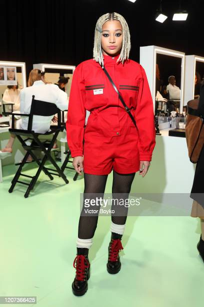 Amandla Stenberg is seen backstage at the Gucci Backstage during Milan Fashion Week Fall/Winter 2020/21 on February 19, 2020 in Milan, Italy.