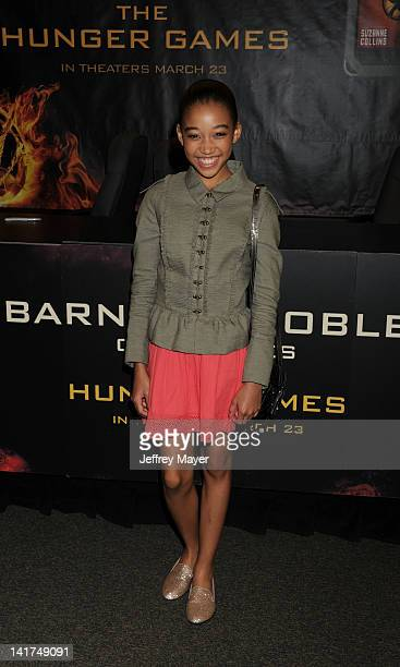 Amandla Stenberg of Lionsgate's The Hunger Games poses at Barnes Noble bookstore at The Grove on March 22 2012 in Los Angeles California