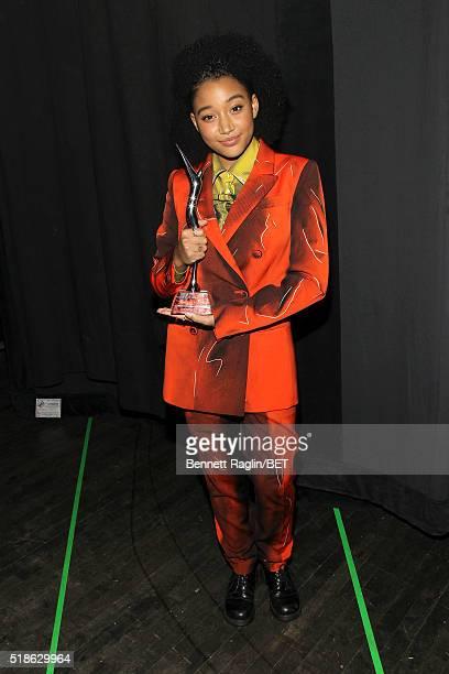 Amandla Stenberg poses backstage during Black Girls Rock 2016 on April 1 2016 in Newark City