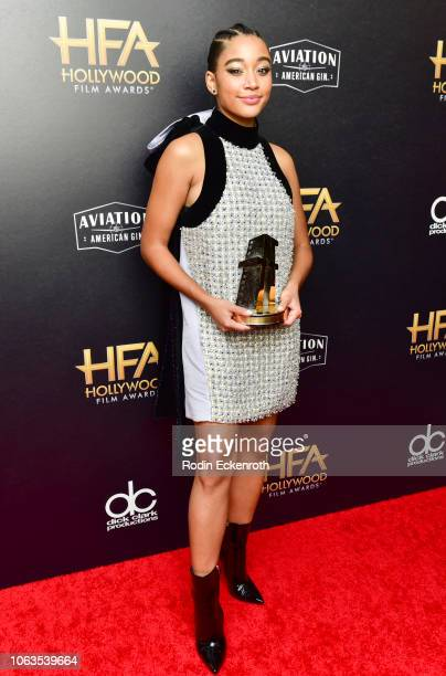 Amandla Stenberg poses in press room at the 22nd Annual Hollywood Film Awards on November 04 2018 in Beverly Hills California