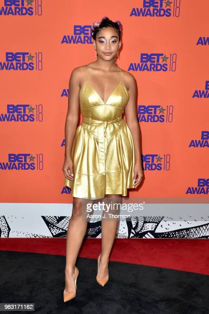 Amandla Stenberg poses in the press room at the 2018 BET Awards at Microsoft Theater on June 24 2018 in Los Angeles California