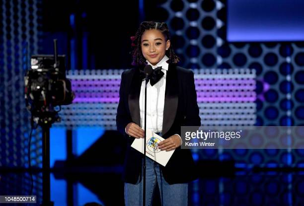 Amandla Stenberg speaks onstage during the 2018 American Music Awards at Microsoft Theater on October 9 2018 in Los Angeles California