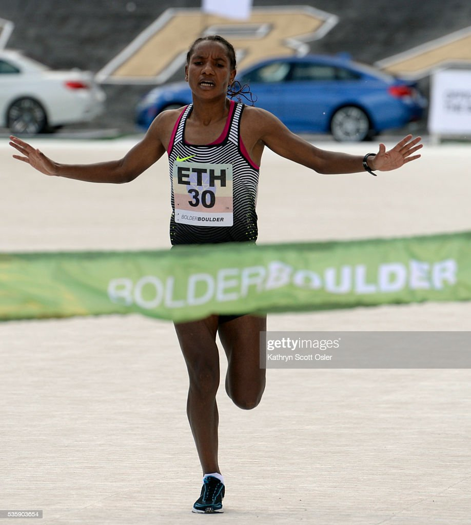Amane Gobena from the Ethiopian team wins the Women's International Team Race. The 38th BolderBOULDER takes place along Boulder's streets with the finish line of the 10k race at Folsom Field on the University of Colorado campus on Monday, May 30, 2016.