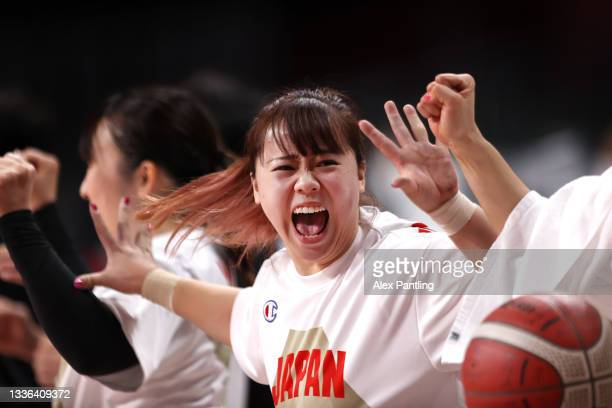 Amane Yanagimoto of Team Japan celebrates during the Wheelchair Basketball Women's preliminary round group A match between team Japan and team Great...