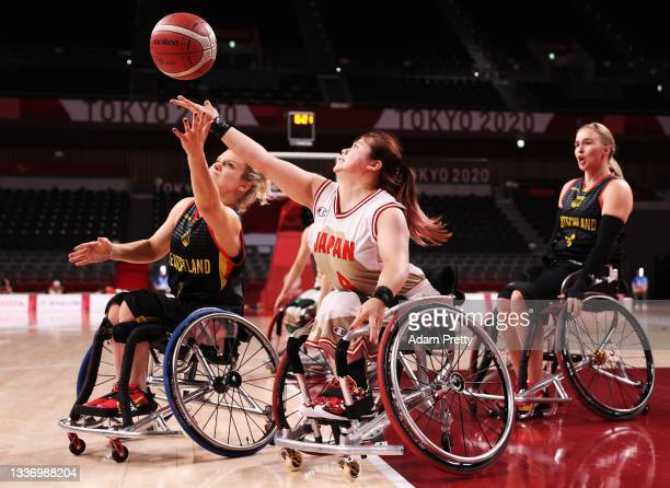 Amane Yanagimoto of Team Japan contest the ball with Catharina Weiss of Team Germany during the Wheelchair Basketball preliminary match between Team...