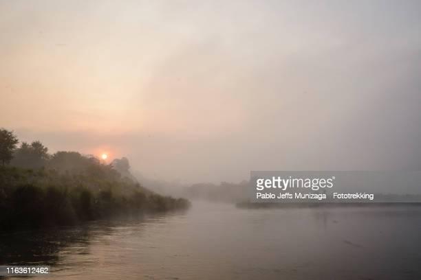 amanecer en el río rapti - chitwan stock pictures, royalty-free photos & images