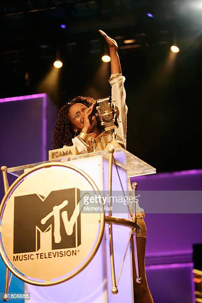 Amani accepts the trophy for best female at the MTV Africa Music Awards with Zain at the Moi International Sports Centre on October 10 2009 in...