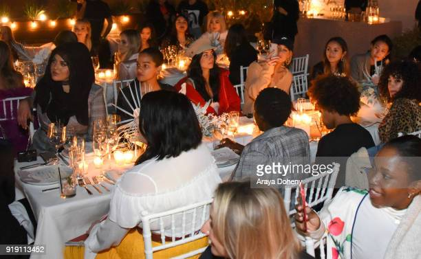 Amani AlKhatahbeh Selena Sloan Racquel Natasha and Mary Seng attend the Flaunt Magazine Dinner with Nike and Revolve on February 15 2018 in Los...