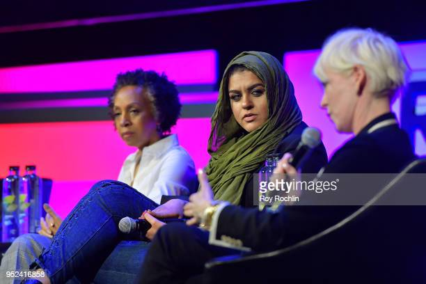 Amani AlKhatahtbeh and Joanna Coles speak onstage at 'Time's Up' during the 2018 Tribeca Film Festival at Spring Studios on April 28 2018 in New York...