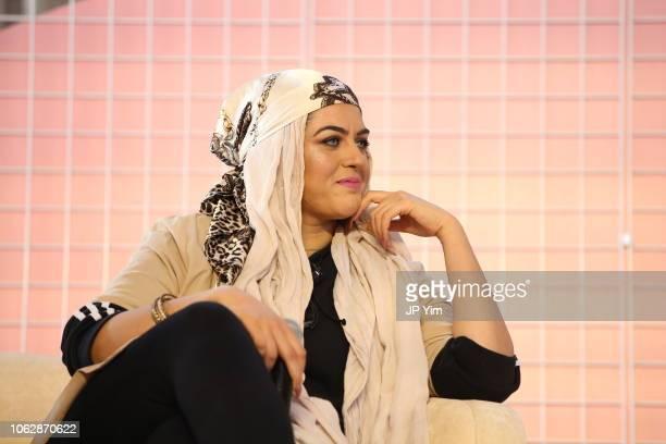 Amani AlKhatahtbeh speaks at Girlboss Rally NYC 2018 at Knockdown Center on November 17 2018 in Maspeth New York
