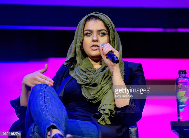 Amani AlKhatahtbeh speaks onstage at 'Time's Up' during the 2018 Tribeca Film Festival at Spring Studios on April 28 2018 in New York City
