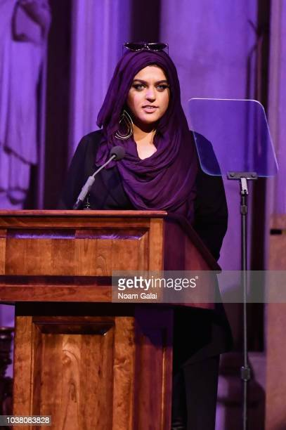Amani AlKhatahtbeh speaks onstage during Global Citizen Week The Spirit Of A Movement at Riverside Church on September 22 2018 in New York City