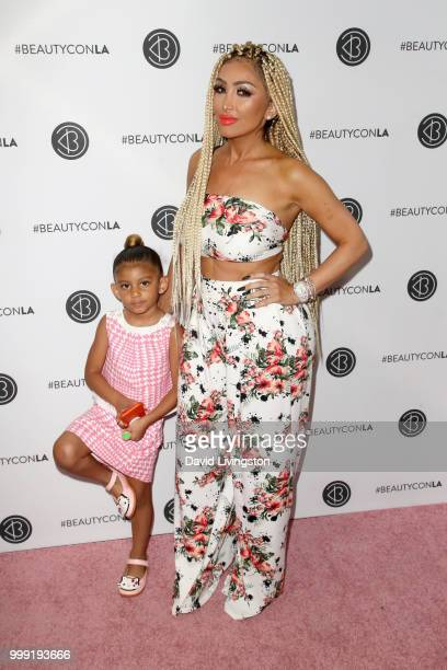 Amani Brinks and Angel Brinks attend the Beautycon Festival LA 2018 at the Los Angeles Convention Center on July 14 2018 in Los Angeles California
