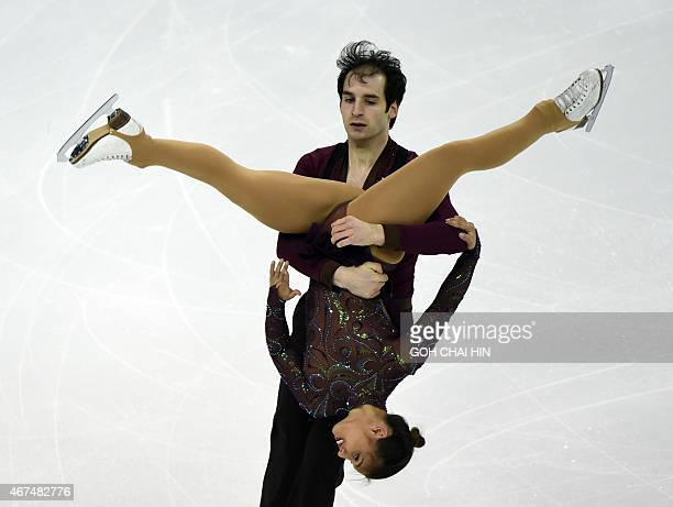 Amani Fancy and Christopher Boyadji of Britain compete in the pairs short program during the 2015 ISU World Figure Skating Championships at the...