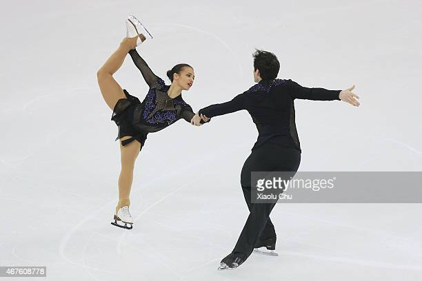 Amani Fancy and Christopher Boyadji of Great Britain perform during the Pairs Free Skating on day two of the 2015 ISU World Figure Skating...