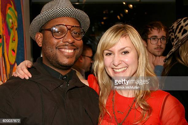 Amani Olu and Julie Fishkin attend PAPERCUT Inaugural Exhibition to Celebrate the Print Making Process at Heist Gallery on December 13 2008 in New...