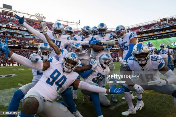 Amani Oruwariye of the Detroit Lions celebrates its teammates after intercepting a pass against the Washington Redskins during the second half at...