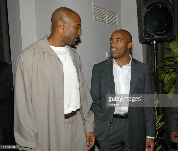 Amani Toomer and Tiki Barber of the NY Giants during New York Sports Night at the Esquire Apartment at The Esquire Apartment in New York City New...