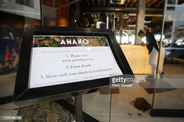 Amano Restaurant provides an online contact tracing register for their guests on the first day of opening after lockdown on May 17 2020 in Auckland...