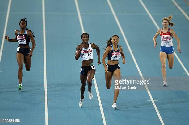 Amantle Montsho of Botswana and Allyson Felix of United States race to the finish line ahead of Francena McCorory of United states and Antonina...