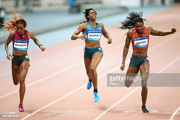 Amantle Montsho of Botswana completes winning the women's 400m of the Diamond League Track and Field competition at Shanghai Stadium on May 18, 2014...