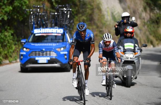 Amanuel Gebreigzabhier of Eritrea and Team NTT Pro Cycling / Julien Bernard of France and Team Trek-Segafredo / Breakaway / during the 55th...
