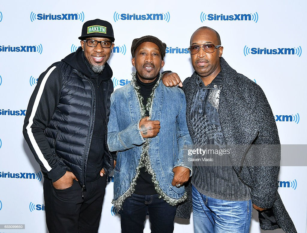 Amar Khalil, Dwayne Wiggins and Timothy Christian Riley of R&B band 'Tony! Toni! Tone!' visit SiriusXM Studios on January 30, 2017 in New York City.