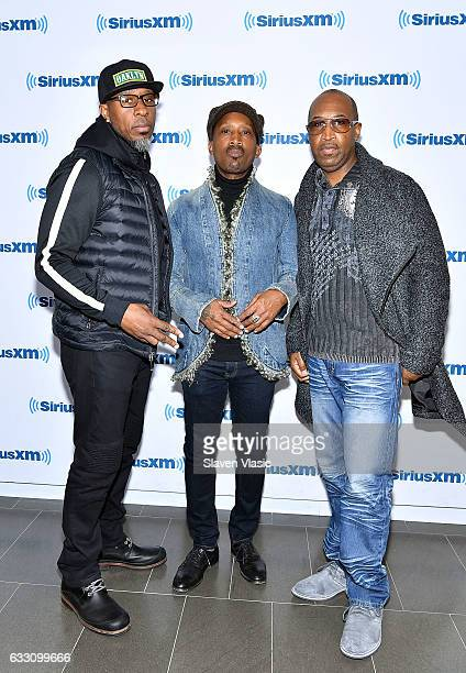 Amar Khalil Dwayne Wiggins and Timothy Christian Riley of RB band 'Tony Toni Tone' visit SiriusXM Studios on January 30 2017 in New York City