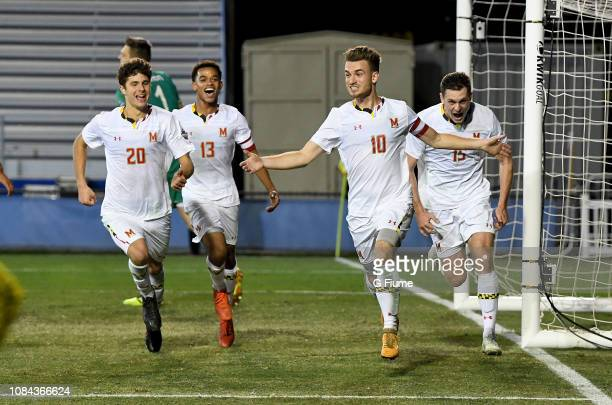 Amar Sejdic of the Maryland Terrapins celebrates after scoring on a penalty kick against the Akron Zips during the Division I Men's Soccer...