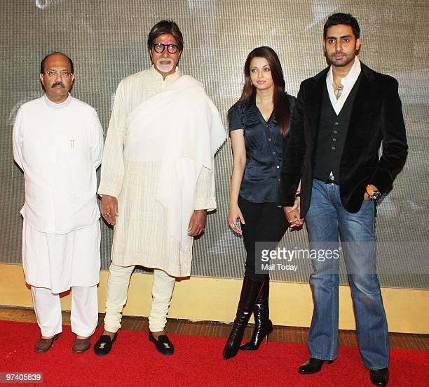 Amar Singh Amitabh Bachchan Aishwarya Rai and Abhihek Bachchan at Big Pictures' success bash held in Mumbai on February 28 2010