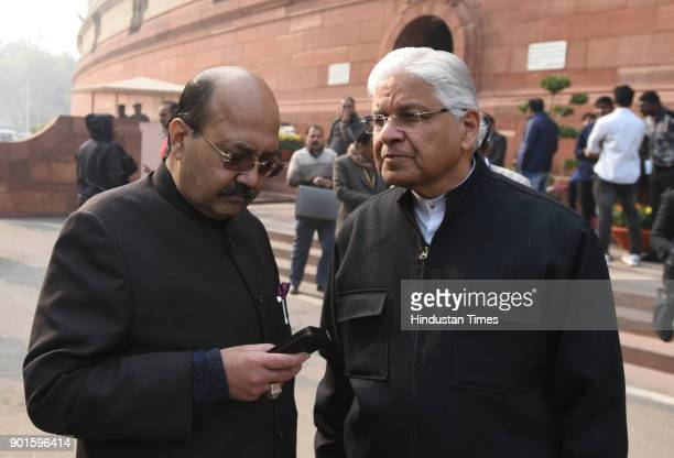 Amar Singh and Ashwani Kumar Congress leader during the last day of the parliament winter session at Parliament House on January 5 2018 in New Delhi...