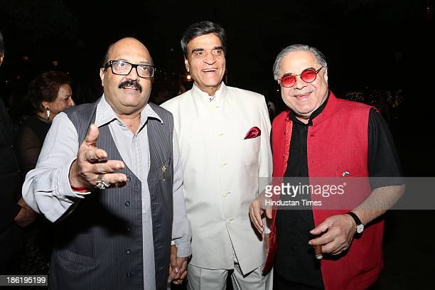 Amar Singh with Suresh Nanda and Vivek Burman during Spanish Fiesta couture fashion show by Indian fashion designer Ritu Beri at residence of Spanish...