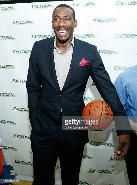 Amar Stoudemire attends the Excedrin What's Your Headache Contest sports charity launch at Chelsea Piers Sports Center on June 15 2011 in New York...