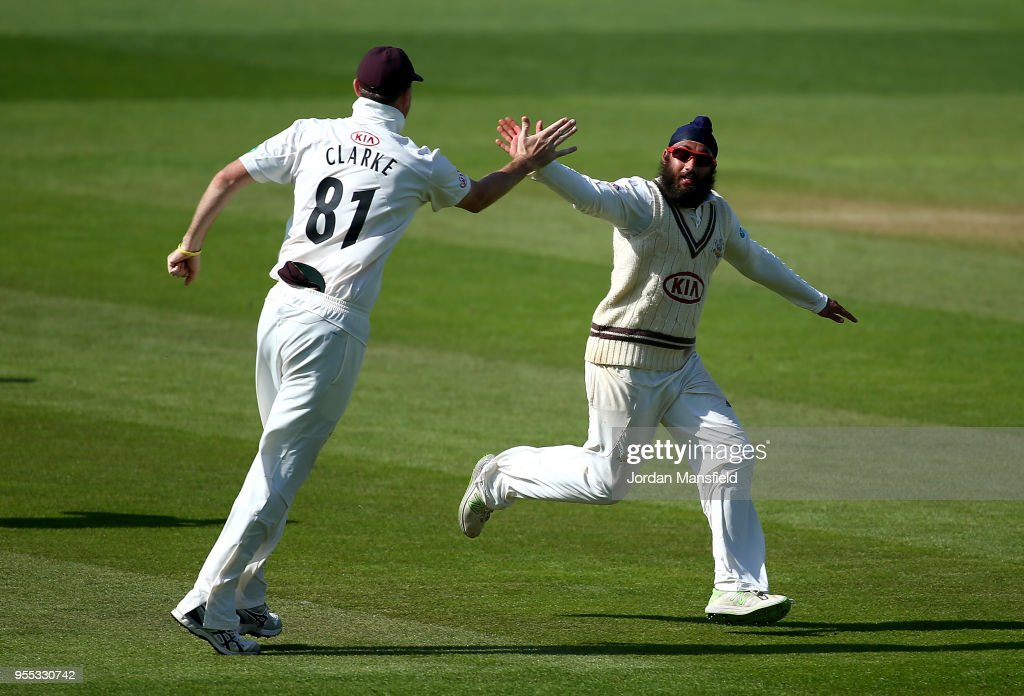 Amar Virdi of Surrey celebrates dismissing Ben Cox of Worcestershire during day three of the Specsavers County Championship Division One match between Surrey and Worcestershire at The Kia Oval on May 6, 2018 in London, England.