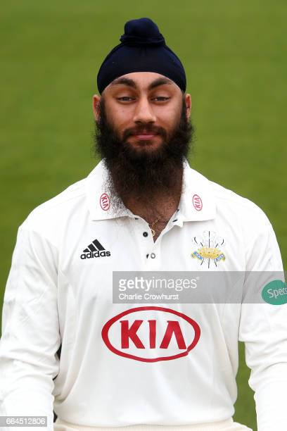 Amar Virdi poses in the Specsavers County Championship kit during the Surrey CCC Photocall at The Kia Oval on April 4 2017 in London England