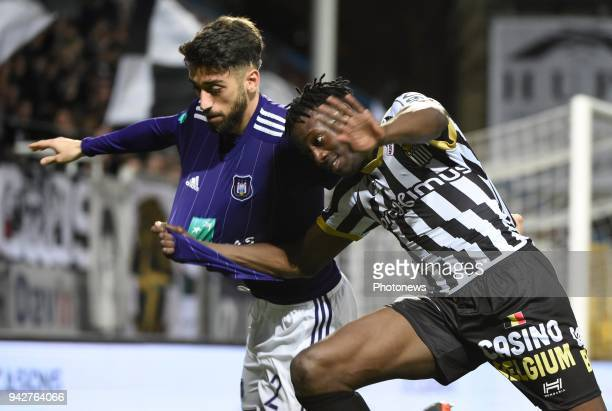 Amara Baby midfielder of Sporting Charleroi and Josue Sa defender of RSC Anderlecht during the Jupiler Pro League Play Off 1 match between Sporting...