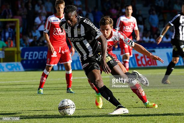 Amara Baby midfielder of Sporting Charleroi and Stefan Simic defender of Royal Excel Mouscron pictured during the Jupiler Pro League match between...