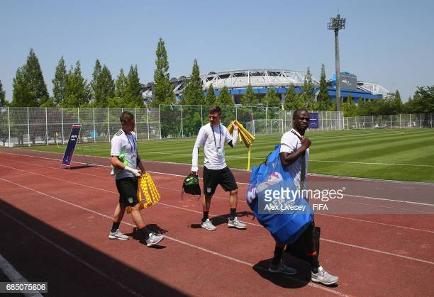 Amara Conde of Germany arrives for a training session at the Daejeon World Cup Stadium complex ahead of the FIFA U20 World Cup on May 19 2017 in...