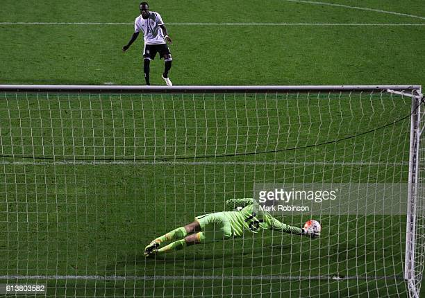 Amara Conde of Germany U20 has his penalty saved by Rody De Boer of the Netherlands U20 during a penalty shootout during the U20 International...