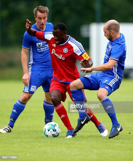 Amara Conde of Holstein Kiel in action against MTV Tellingstedt during the preseason friendly match between MTV Telllingstedt and Holstein Kiel at...