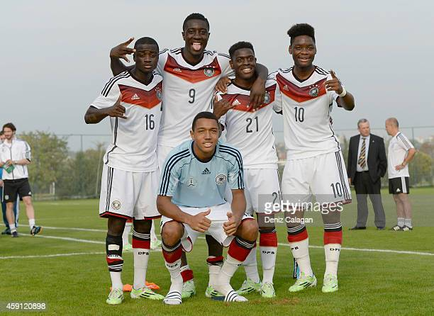 Amara Conde Prince Osei Owusu AntonLeander Donkor Kentu Malcolm Badu BaMuaka Simakala of Germany pose after the international friendly match between...