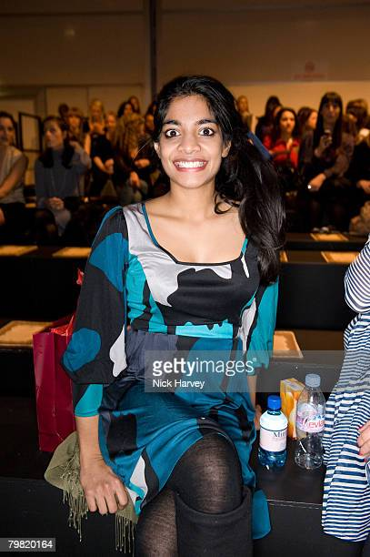 Amara Karan attends the ISSA Autumn/Winter 2008/2009 fashion show during London Fashion Week at the Natural History Museum on February 14 2008 in...