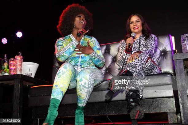 Amara La Negra and Angela Yee speak onstage during Angela Yee's Lip Service at Highline on February 13 2018 in New York City